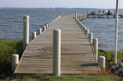 Complete dock with pilings and bollards